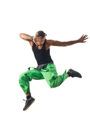 Construction worker jumping and dancing photo