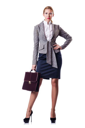 Businesswoman with briefcase on white photo
