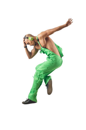 Construction worker jumping and dancing Stock Photo - 16177959