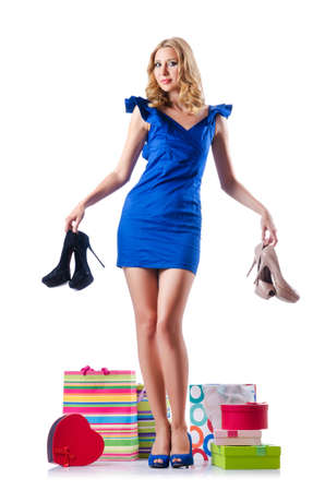 Attractive woman trying new clothing on white Stock Photo - 16178195
