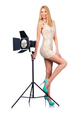Attrative woman in photo studio Stock Photo - 16178086