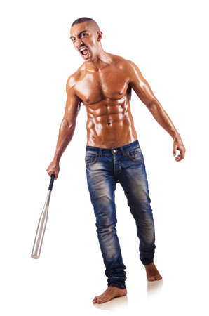 Muscular man with baseball bat photo