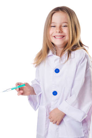 Little doctor with syringe photo