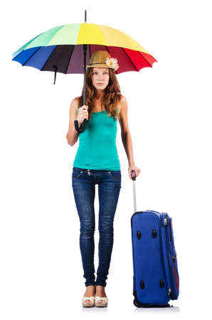Woman going to summer vacation with suitcase photo