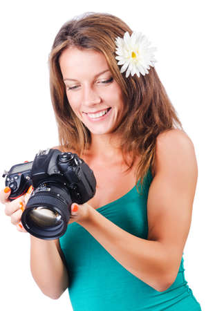 Attractive female photographer on white Stock Photo - 16178601