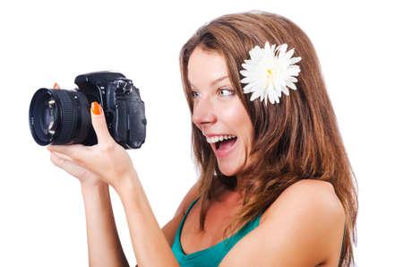 Attractive female photographer on white Stock Photo - 16178541