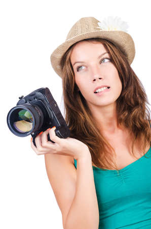 Attractive female photographer on white Stock Photo - 16178571
