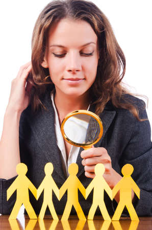 Woman with magnifying glass Stock Photo - 16178610