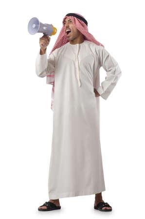 qameez: Arab yelling with loudspeaker Stock Photo