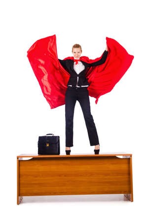 Superwoman standing on the desk Stock Photo - 16178138