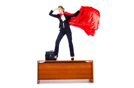 superwoman: Superwoman de pie sobre la mesa Foto de archivo