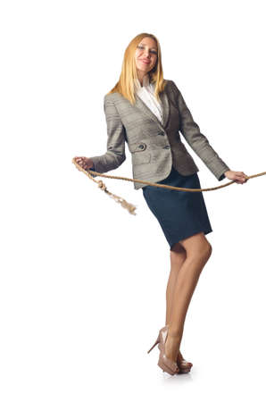 Businesswoman in tug of war concept Stock Photo - 16280347