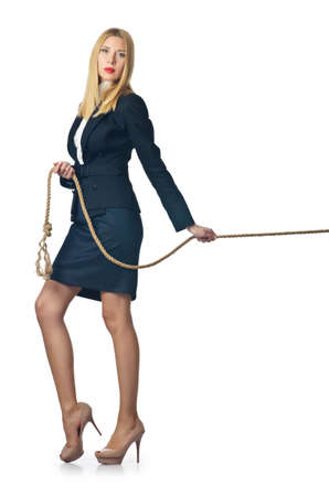 Businesswoman in tug of war concept Stock Photo - 16281541