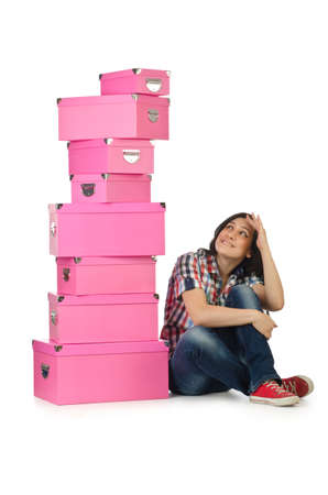Girl with stack of giftboxes Stock Photo - 16280635