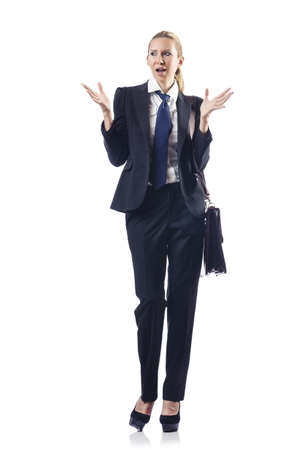 Businesswoman with briefcase on white Stock Photo - 16281888