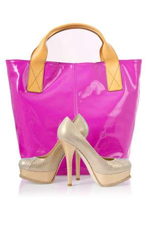 Elegant bag and shoes on white Stock Photo - 16275935