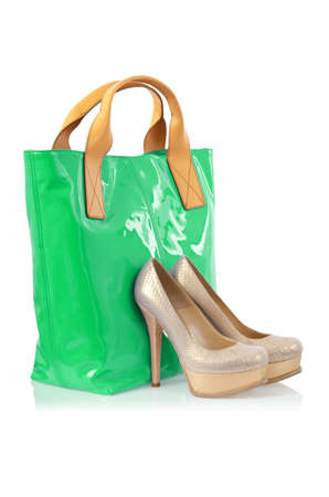 Elegant bag and shoes on white Stock Photo - 16279162