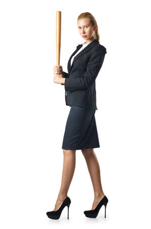 Businesswoman with baseball bat on white Stock Photo - 16283164