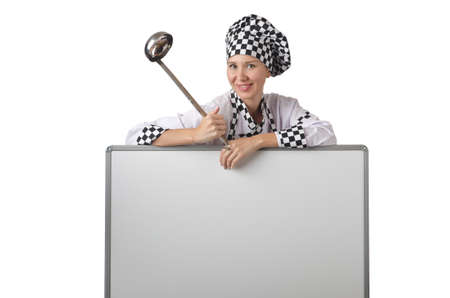Cook with ladle and blank board photo