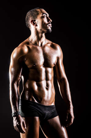 Bodybuilder with muscular body Stock Photo