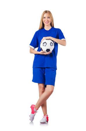 Woman playing football on white Stock Photo - 16282951