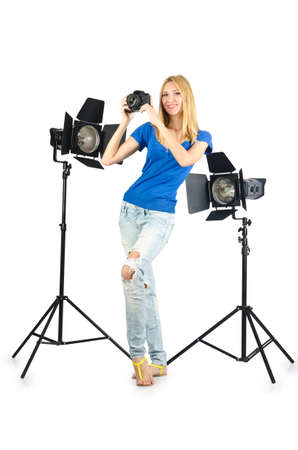 Attrative woman in photo studio Stock Photo - 16281091