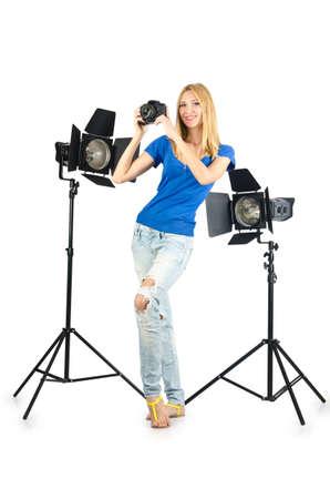 Attrative woman in photo studio Stock Photo - 16281091
