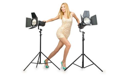 Attrative woman in photo studio Stock Photo - 16281448