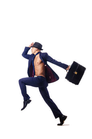 businessman jumping on white Stock Photo - 16283149