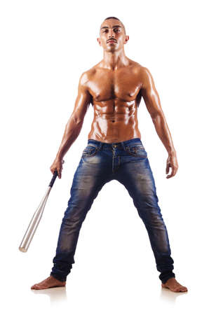 Muscular man with baseball bat Stock Photo - 16279664