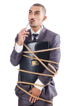 Businessman tied up with rope Stock Photo - 16277411