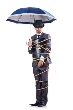 Businessman tied up with rope Stock Photo - 16280312