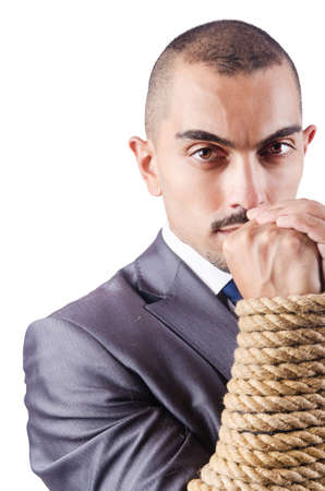Businessman tied up with rope Stock Photo - 16278039