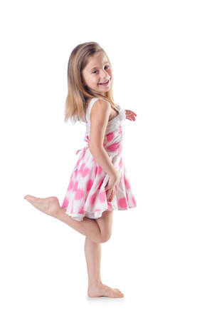 portrait girl: Cute little girl isolated on the white Stock Photo