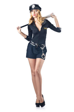 Woman police with baseball bat Stock Photo - 16281822