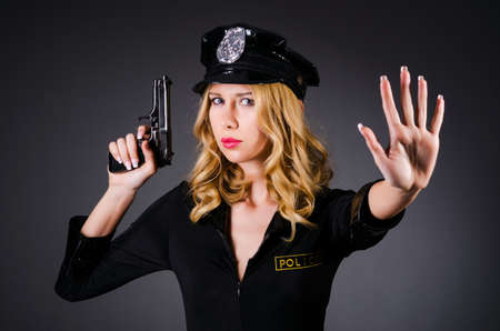 Young attractive woman police Stock Photo - 16277482