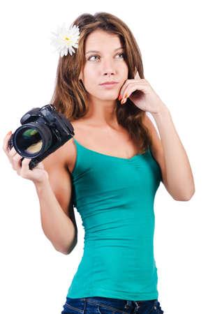 Attractive female photographer on white Stock Photo - 16276911