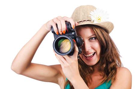 Attractive female photographer on white Stock Photo - 16276133