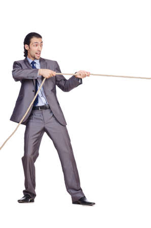 Businessman pulling rope on white Stock Photo - 16281839