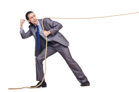 Businessman pulling rope on white Stock Photo - 16282995