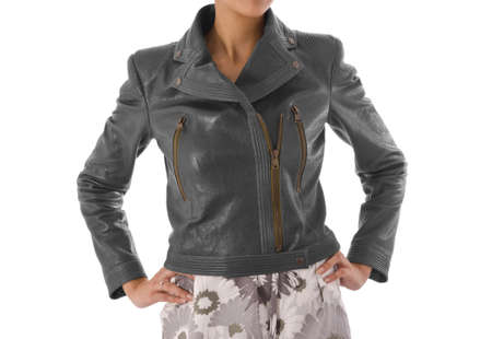 Stylish jacket isolated on model photo
