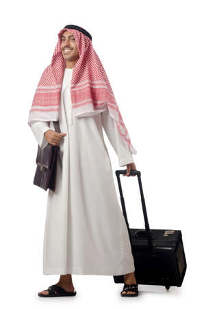 Arab on his travel with suitcase photo