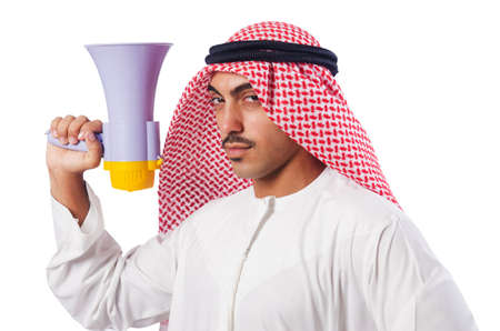 Arab man shouting through loudspeaker photo