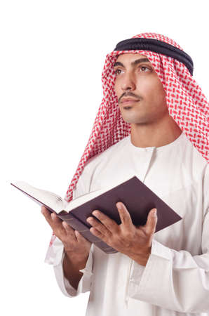 Arab man praying on white Stock Photo - 16276210