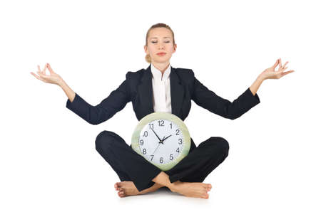Woman with clock on white Stock Photo - 16282209