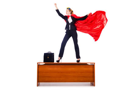 Superwoman standing on the desk Stock Photo - 16282088