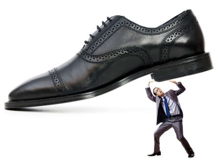 Woman domination concept with shoes and man Stock Photo - 16278645
