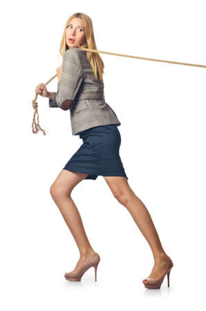 Businesswoman in tug of war concept Stock Photo - 16388259