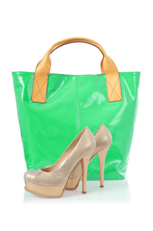 Elegant bag and shoes on white Stock Photo - 16388337