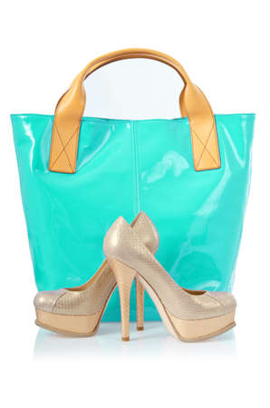Elegant bag and shoes on white Stock Photo - 16388413